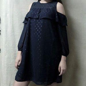 Old Navy Black Cold Shoulder Sheer Sleeves Dress L